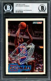 Dennis Rodman Autographed 1993-94 Fleer Card #64 Detroit Pistons Beckett BAS #12518348