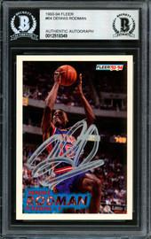 Dennis Rodman Autographed 1993-94 Fleer Card #64 Detroit Pistons Beckett BAS #12518349