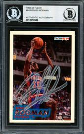 Dennis Rodman Autographed 1993-94 Fleer Card #64 Detroit Pistons Beckett BAS #12518346