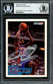 Dennis Rodman Autographed 1993-94 Fleer Card #64 Detroit Pistons Beckett BAS #12518347