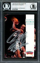 Dennis Rodman Autographed 1993-94 Skybox Card #280 San Antonio Spurs Signed In Silver Beckett BAS Stock #184886