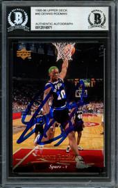 Dennis Rodman Autographed 1995-96 Upper Deck Card #40 San Antonio Spurs Beckett BAS #12516971