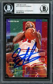 Dennis Rodman Autographed 1995-96 Fleer Card #213 Chicago Bulls Beckett BAS #12517010