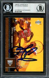 Dennis Rodman Autographed 1996-97 Upper Deck Card #19 Chicago Bulls Beckett BAS #12517056
