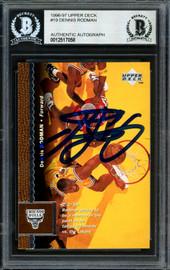 Dennis Rodman Autographed 1996-97 Upper Deck Card #19 Chicago Bulls Beckett BAS #12517058