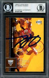 Dennis Rodman Autographed 1996-97 Upper Deck Card #19 Chicago Bulls Beckett BAS #12517059