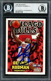 Dennis Rodman Autographed 1997-98 Hoops League Leader Card #2 Chicago Bulls Beckett BAS #12517105