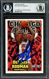 Dennis Rodman Autographed 1997-98 Hoops Card #30 Chicago Bulls Beckett BAS Stock #184999