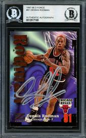 Dennis Rodman Autographed 1997-98 Skybox Z Force Card #91 Chicago Bulls Beckett BAS Stock #185002