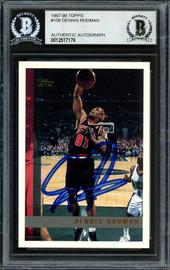 Dennis Rodman Autographed 1997-98 Topps Card #106 Chicago Bulls Beckett BAS Stock #185003