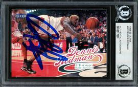 Dennis Rodman Autographed 1998-99 Fleer Ultra Card #80 Chicago Bulls Beckett BAS #12517201