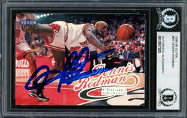 Dennis Rodman Autographed 1998-99 Fleer Ultra Card #80 Chicago Bulls Beckett BAS #12517203