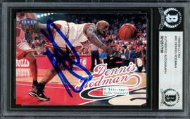 Dennis Rodman Autographed 1998-99 Fleer Ultra Card #80 Chicago Bulls Beckett BAS #12517199