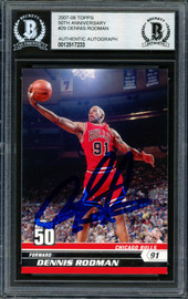 Dennis Rodman Autographed 2007-08 Topps 50th Anniversary Card #29 Chicago Bulls Signed In Blue Beckett BAS Stock #185028