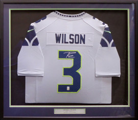 Seattle Seahawks Russell Wilson Autographed Framed Gray Nike Twill Jersey RW Holo Stock #185069