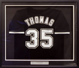 Chicago White Sox Frank Thomas Autographed Framed Black Jersey Beckett BAS Stock #185081