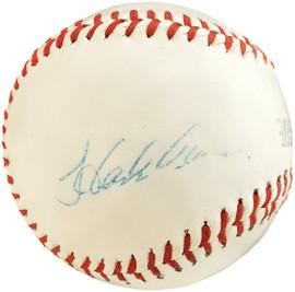 Hank Aaron Autographed Official League Baseball Atlanta Braves Vintage Signature Beckett BAS #Q67669