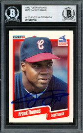 Frank Thomas Autographed 1990 Fleer Update Rookie Card #U-87 Chicago White Sox Beckett BAS Stock #185215