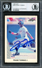 Frank Thomas Autographed 1990 Leaf Rookie Card #300 Chicago White Sox Beckett BAS #12502202