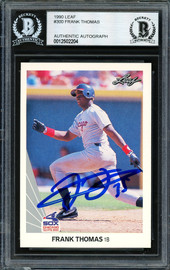 Frank Thomas Autographed 1990 Leaf Rookie Card #300 Chicago White Sox Beckett BAS #12502204