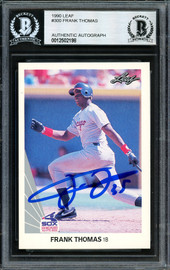 Frank Thomas Autographed 1990 Leaf Rookie Card #300 Chicago White Sox Beckett BAS #12502198