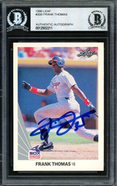 Frank Thomas Autographed 1990 Leaf Rookie Card #300 Chicago White Sox Beckett BAS #12502211