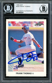 Frank Thomas Autographed 1990 Leaf Rookie Card #300 Chicago White Sox Beckett BAS #12502201
