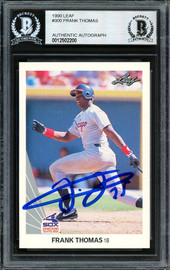 Frank Thomas Autographed 1990 Leaf Rookie Card #300 Chicago White Sox Beckett BAS #12502200