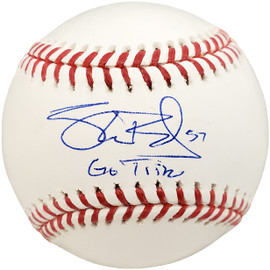 """Shane Bieber Autographed Official MLB Baseball Cleveland Indians """"Go Tribe"""" Beckett BAS Stock #185108"""