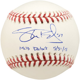 "Shane Bieber Autographed Official MLB Baseball Cleveland Indians ""MLB Debut 5/31/18"" Beckett BAS Stock #185109"