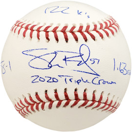 "Shane Bieber Autographed Official MLB Baseball Cleveland Indians ""2020 Triple Crown"" With 3 Stats Beckett BAS Stock #185110"