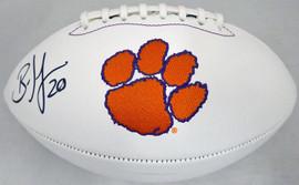 Brian Dawkins Autographed Clemson Tigers White Logo Football Beckett BAS Stock #185115