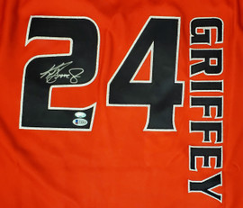 Seattle Mariners Ken Griffey Jr. Autographed Authentic Red Mitchell & Ness Turn Forward The Clock Jersey Size 44 Beckett BAS & MCS Holo Stock #185611