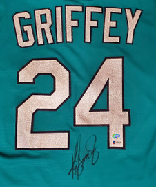 Seattle Mariners Ken Griffey Jr. Autographed Teal Nike Jersey Size L Beckett BAS & MCS Holo Stock #185615