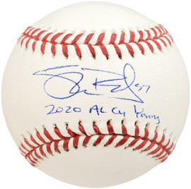 """Shane Bieber Autographed Official MLB Baseball Cleveland Indians """"2020 AL Cy Young"""" Beckett BAS Stock #185692"""
