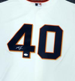 San Francisco Giants Madison Bumgarner Autographed Cream Majestic Cool Base Jersey Size XL Beckett BAS Stock #185701