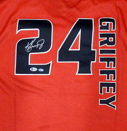 Seattle Mariners Ken Griffey Jr. Autographed Authentic Red Mitchell & Ness Turn Forward The Clock Jersey Size 48 Beckett BAS & MCS Holo Stock #185666