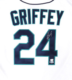 Seattle Mariners Ken Griffey Jr. Autographed White Nike Jersey Size L Beckett BAS & MCS Holo Stock #185667