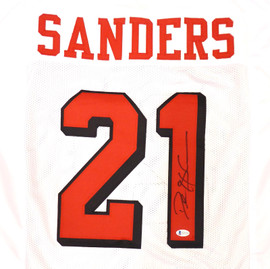 Atlanta Falcons Deion Sanders Autographed White Jersey Beckett BAS Stock #185675