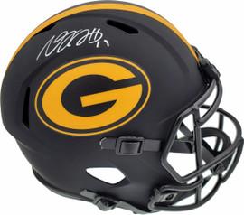 Davante Adams Autographed Green Bay Packers Black Eclipse Full Size Speed Replica Helmet Beckett BAS Stock #185688