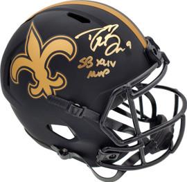 "Drew Brees Autographed New Orleans Saints Black Eclipse Full Size Speed Replica Helmet ""SB XLIV MVP"" Beckett BAS Stock #185737"