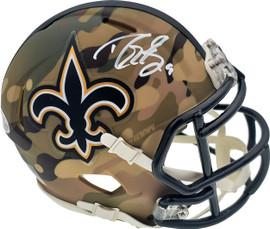 Drew Brees Autographed New Orleans Saints Camo Speed Mini Helmet Beckett BAS Stock #185740