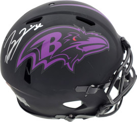 Ray Lewis Autographed Eclipse Black Baltimore Ravens Full Size Authentic Speed Helmet Beckett BAS Stock #185801