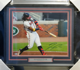 Ronald Acuna Jr. Autographed Framed 16x20 Photo Atlanta Braves Beckett BAS Stock #185757