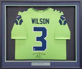 Seattle Seahawks Russell Wilson Autographed Action Green Nike Framed Jersey RW Holo Stock #185764