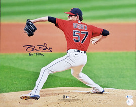 """Shane Bieber Autographed 16x20 Photo Cleveland Indians """"Go Tribe"""" Beckett BAS Stock #185900"""