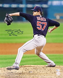 """Shane Bieber Autographed 16x20 Photo Cleveland Indians """"Go Tribe"""" Beckett BAS Stock #185902"""