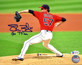 """Shane Bieber Autographed 8x10 Photo Cleveland Indians """"Go Tribe"""" Beckett BAS Stock #185904"""