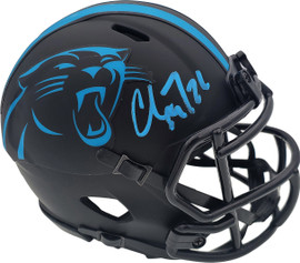 Christian McCaffrey Autographed Carolina Panthers Eclipse Black Speed Mini Helmet Beckett BAS Stock #185910