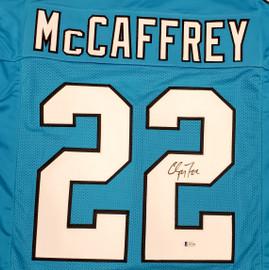Carolina Panthers Christian McCaffrey Autographed Blue Jersey Beckett BAS Stock #185926